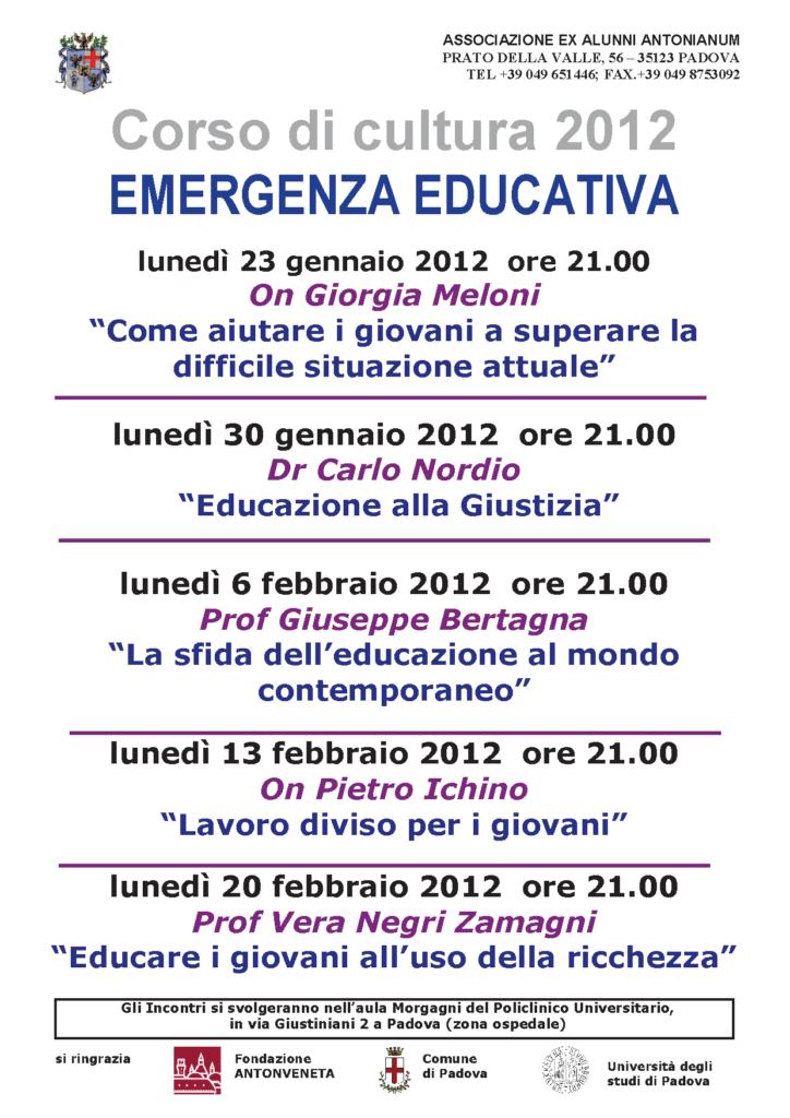 32° Corso di cultura 2012: Emergenza educativa